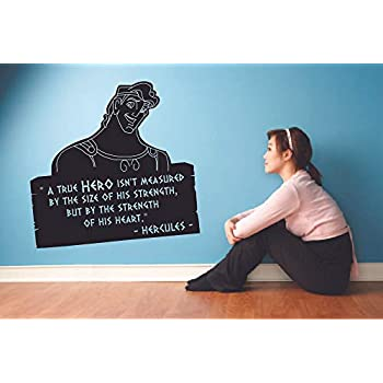 A True Hero Hercules Quote Disney Cartoon Quotes Wall Sticker Art Decal for Girls Boys Room Bedroom Nursery Kindergarten House Fun Home Decor Stickers Wall Art Vinyl Decoration Size (20x20 inch)