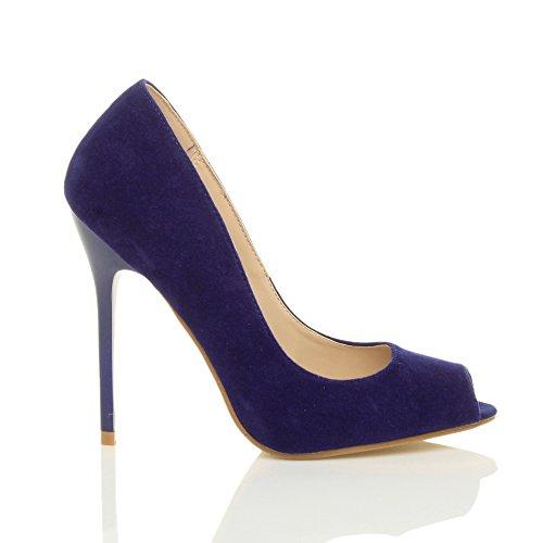 Ajvani Damen Hohen Absatz Arbeit Party Grund Peep Toe Schuhe Pumps Sandalen Größe Kobaltblau Wildleder