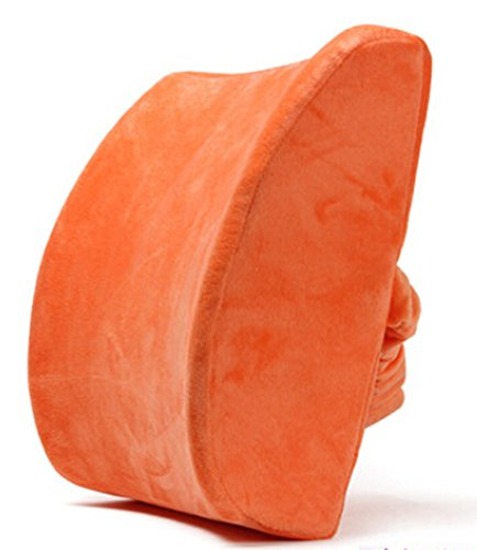 Moyishi Orange High Resilient Memory Foam Seat Back Lumbar Cushion Support Pillow Car Office Chair Back Support (Support Sacral Pillow Lumbar)