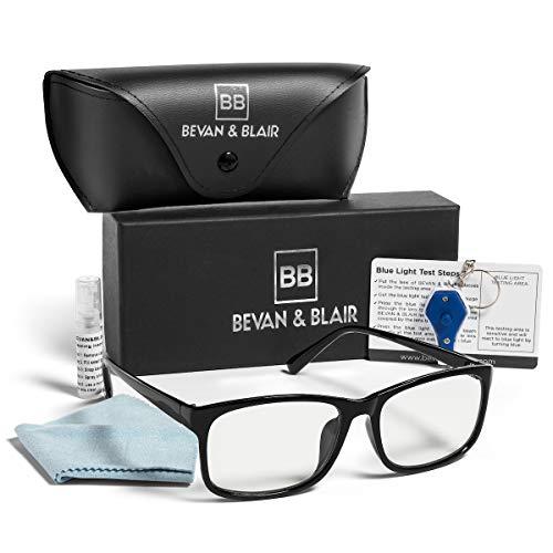 Blue Light Blocking Computer Glasses Women & Men by BEVAN & BLAIR - Anti Glare, Transparent Lens (No Magnification), Gaming Glasses and UV Blocker - Large Square Black Frames - Protect from Eye Strain