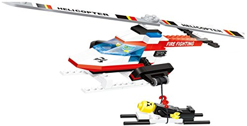 Value Series Winch (Helicopter - 120 pcs building blocks Fire Fighting Rescue Patrol flying helicopter set with a big rope winch, patient stretcher & captain - a thrilling gift for all 6+ kids)
