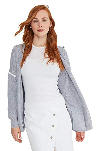 State Cashmere Women's Cotton Cashmere Oversized Open Front Hooded Cardigan with Pockets