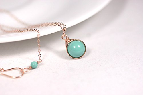 Rose Gold Green Turquoise Necklace with Jade Swarovski Pearl Pendant Wire Wrapped Rose or Yellow Gold Filled