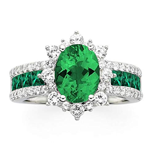 NATALIA DRAKE 3cttw Oval Shaped Green Emerald and White Sapphire Ring in Sterling Silver ()