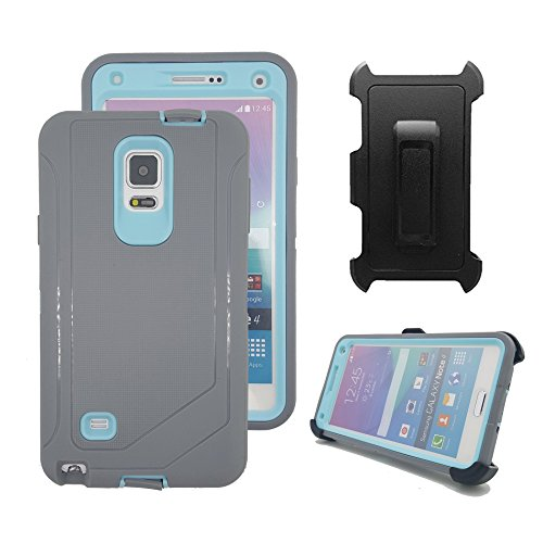 Galaxy Note 4 Holster Case, Harsel Defender Heavy Duty Shockproof Scratch Resistant Full Body Protective Military w' Belt Clip Built-in Screen Protector Case Cover for Galaxy Note 4 - Gray Light Blue