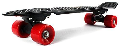 "Lightweight Street Cruiser Complete 22"" Inch Banana Skateboard w/ High Quality Bushings, ABEC-7 Bearings (Black)"
