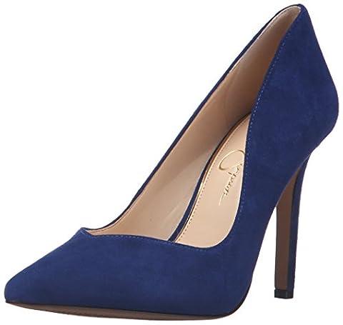 Jessica Simpson Women's Cylvie Dress Pump, Deep Azul, 9.5 M US - Blue Suede Pump Shoes