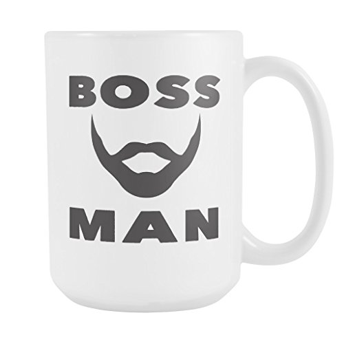 BOSS MAN w/ Beard Coffee Mug, PERFECT PERSONALIZED MEN GIFT for Boss Husband Boyfriend Father Son Guy! Attractive Durable White Ceramic Mug STYLE (Over Logo Infant Beanie)