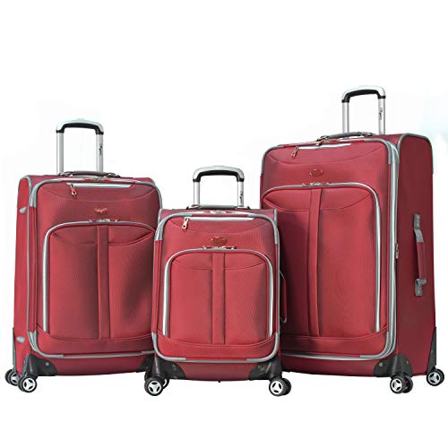 Olympia Luggage  Tuscany 3 Piece Spinner Expandable Luggage Set,Red,One Size