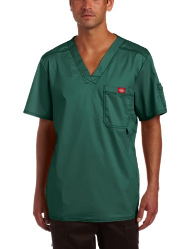 Generations Green - Dickies Men's Big and Tall Generation Flex Utility Scrubs V-Neck Shirt, Hunter, XXX-Large
