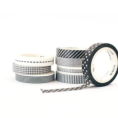 [8-Pack] Signature Collection Designer Washi Tape 7mm x 5m (Black & White (Seasonal Cut Flowers)