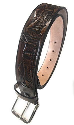 Deer Design Handmade Mens Leather Belt Western Work Casual Belt 1.5