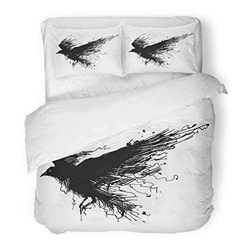 Emvency Decor Duvet Cover Set King Size Tattoo Detailed Crows in Ink on Wings Raven Shades of Gray Animal 3 Piece Brushed Microfiber Fabric Print Bedding Set -