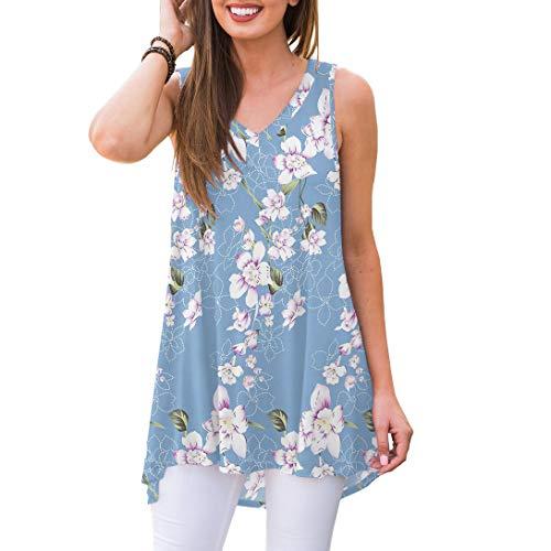 (AWULIFFAN Women's Summer Sleeveless V-Neck T-Shirt Short Sleeve Sleepwear Tunic Tops Blouse Shirts (Flower Light Blue,XL))