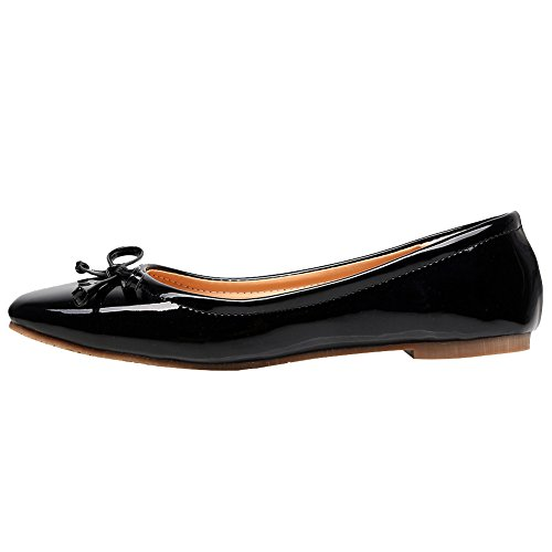 PU Leather Lovely Jamron Leisure Shoes Lightweight Bowknot Water Soft Women Black Patent Resistant Dolly Ballerinas 1F74c4tyH