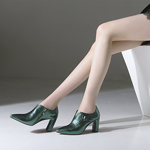 Boucle Glissière Haut Soiree Green À Club Mariage KJJDE Basique Hauts Escarpin 34 Femme Latérale Fête WSXY Plateforme 01 Talon Talons xTA0zTq