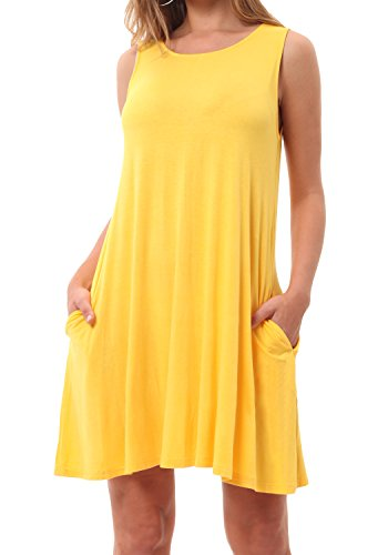 CALIPESSA Womens Summer Plain Sleeveless Loose Casual Swing Dress Yellow L (Yellow Casual Dress)