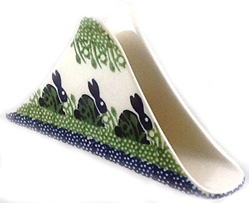 Polish Pottery Napkin Holder in Triangular Shape - P-324 Bunny Rabbit