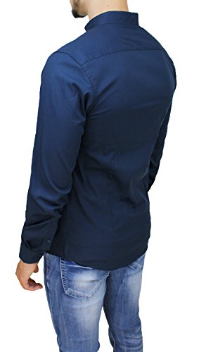 Camicia uomo cotone slim fit blu casual elegante con colletto coreana