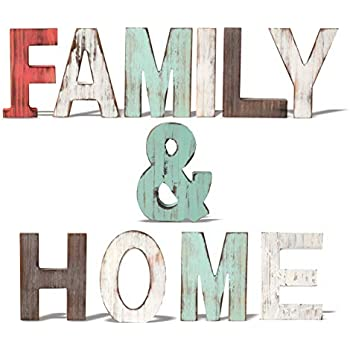 Rustic Wood Family & Home Signs Home Décor |Freestanding Wooden Letters Cutouts for Home Décor| Multi-Color Wooden Signs |Decorative Word Signs| Multicolor Table Decor Centerpiece| for Kitchen Shelf,