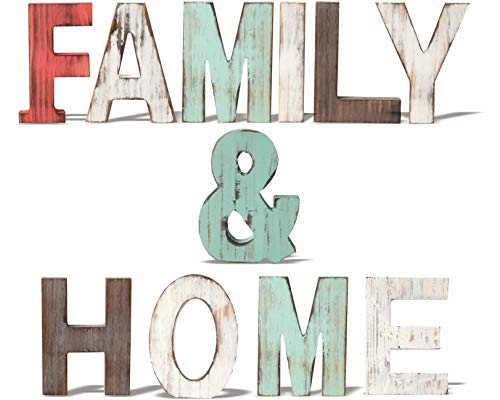 Rustic Wood Family & Home Signs Home Décor |Freestanding Wooden Letters Cutouts for Home Décor| Multi-Color Wooden Signs |Decorative Word Signs| Multicolor Table Decor Centerpiece| for Kitchen Shelf, (Decor Letters Family)