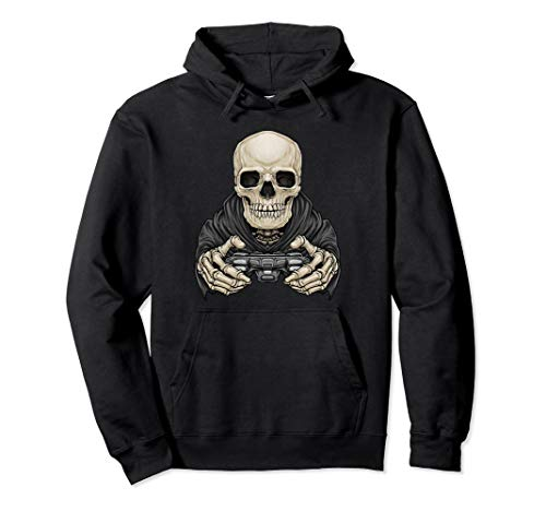 Skeleton Gamer Graphic Hoodie Scary Halloween Gaming Drawing ()