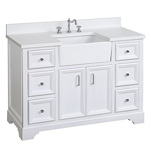 Zelda 48-inch Bathroom Vanity (Quartz/White): Includes a Quartz Countertop, White Cabinet with Soft Close Doors & Drawers, and White Ceramic Farmhouse Apron Sink