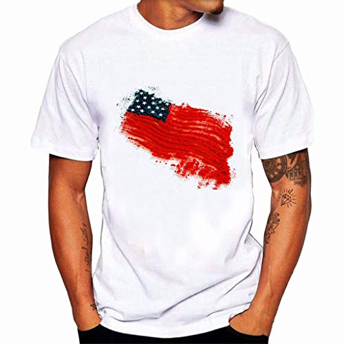 (JustWin Mens T-Shirt American Patriotic American Flag Print Short Sleeve Independence Day Tercel Tee)