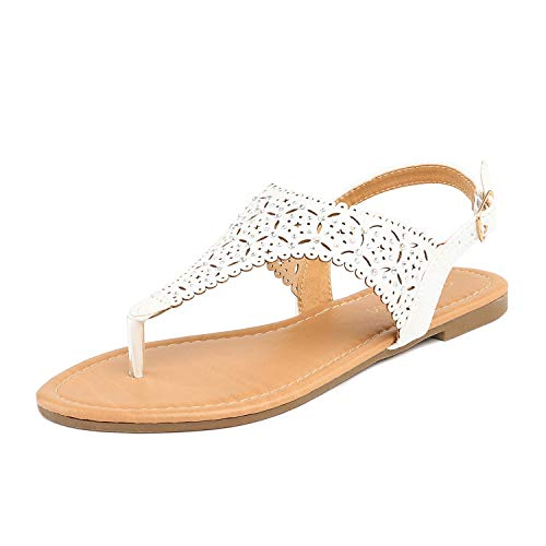 Women Rhinestone Casual Wear Cut Out Flat Sandals White Size 8 ()