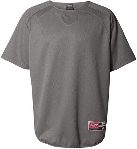 Rawlings Adult Flatback Mesh Short Sleeve Fleece Pullover (Steel Grey) - Mesh Jersey Steel