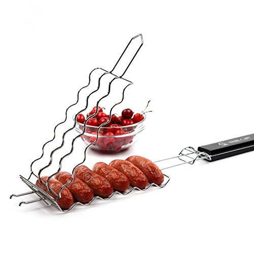 MiniInTheBox Hot Dog Rack Metal Mesh Baskets BBQ Barbecue Sausage Grilling Basket Grill Rack BBQ Accessories Christmas Party BBQ Tool 5436532