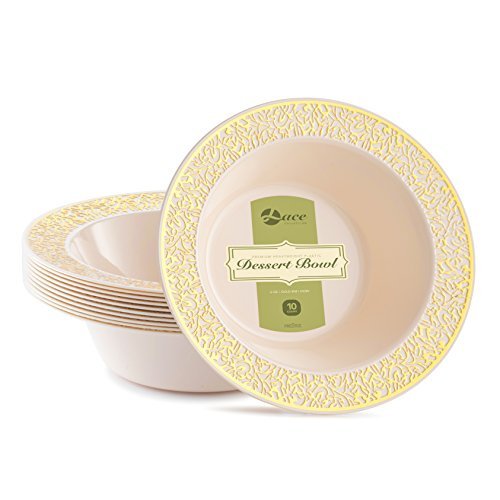 Fruit Ivory Bowl (LACE PLASTIC PARTY DISPOSABLE BOWLS | 6 Ounce Hard Round Wedding Plastic Bowls | Ivory with Gold Rim, 40 Pack | Elegant & Fancy Party Supplies Dessert Plates for all Holidays & Occasion)