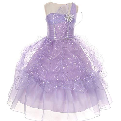 Kiki Kids Big Girls Lilac One Shoulder Bow Sparkle Organza Pick Up Party Dress 8