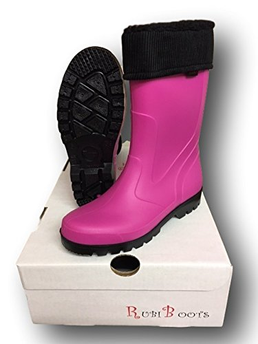 Girls fit Lined Ladies Italian Rubi Boots Season All Thermal wide wellies Festival Removable and Collared FtS7q7x