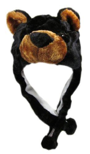 Critter Cap Plush Black Bear Hat with Ear Flaps That Button Under the - Hat Bear Black