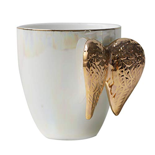 CoCoMe Nordic Little Luxury Retro Pearl Glaze Golden Angel Wing Coffee Tea Mugs Cup for Breakfast Office Home Good Gift