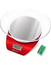 Etekcity Báscula Digital para Cocina Báscula de cocción de acero inoxidable Multifunción con bol extraíble, 5 kg / 11 lb, batería AAA incl., Rojo/ Plata