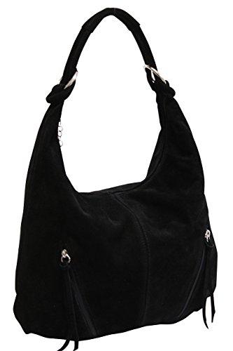 asas compartimiento gamuza de cuero hombro de mujeres de de grande Bolso Bolso Shopper WL822 bolsa Bolso Negro de de AMBRA las Moda qwfatPxnT