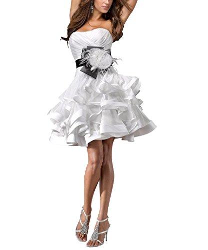 al sopra BRIDE piu livelli ginocchio GEORGE Bella vestito Raso da Bianco vestito il cocktail 8dfwqXx