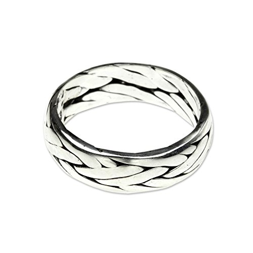 NOVICA .925 Sterling Silver Unisex Braided Ring, 'Singaraja Weave' by NOVICA