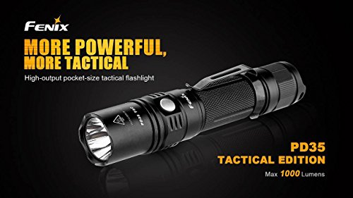 Fenix PD35 TAC 1000 Lumen CREE XP-L LED Tactical Flashlight with Two EdisonBright CR123A Lithium Batteries