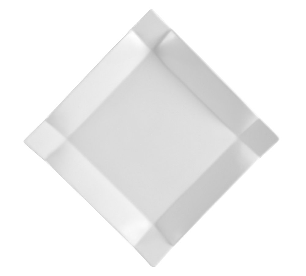 CAC China TMS-5 Times Square Super White Porcelain Square Plate, 4-Inch, Box of 36