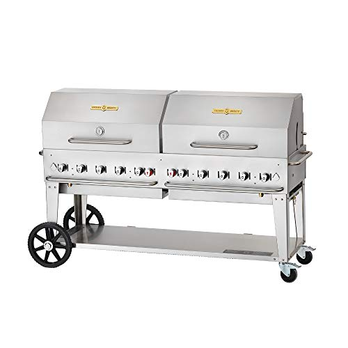 - Crown Verity CV-RCB-72RDP-SI50/100 Pro Series Grill, Liquid Propane Outdoor Charbroiler with 10 Burners, Roll Domes, Single Inlet & Accommodates 50 or 100 lbs Tanks