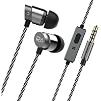 H9 Metal Wired Earbuds with Mic In Ear Bass Headphone Noise Cancelling Sweatproof Sport Earphone with Built-in Microphone, Hand-free Calling, Lightweight Stereo Headset, iOS/Android