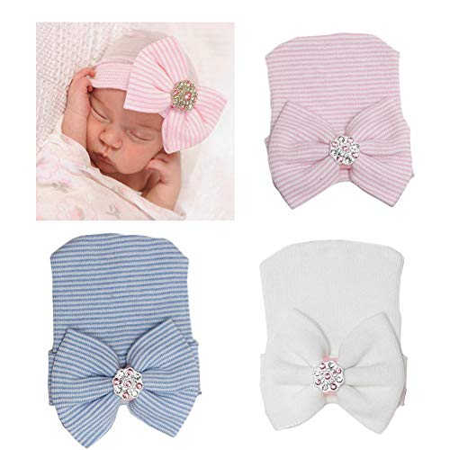 DRESHOW BQUBO Newborn Hospital Hat Infant Baby Hat Cap with Big Bow Soft Cute Knot Nursery Beanie Pack 3