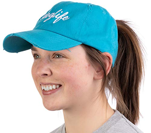 #doglife | Ponytail Dad Hat Funny Cute Dog Life Owner Mom Pony Tail Low Cap - Turquoise