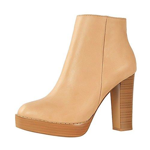 Scarpe passeggio tallone Stivaletti primavera scarpe da Brown Khaki stivali per caduta di vestire Chunky similpelle HSXZ punta Khaki fibbia di in tonda donna Babbucce da Comfort dHqWwO