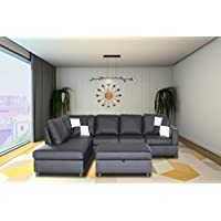 Legend  Faux Leather Right-Facing Sectional Sofa Set With Free Storage Ottoman, Dark Gray, 3 Piece