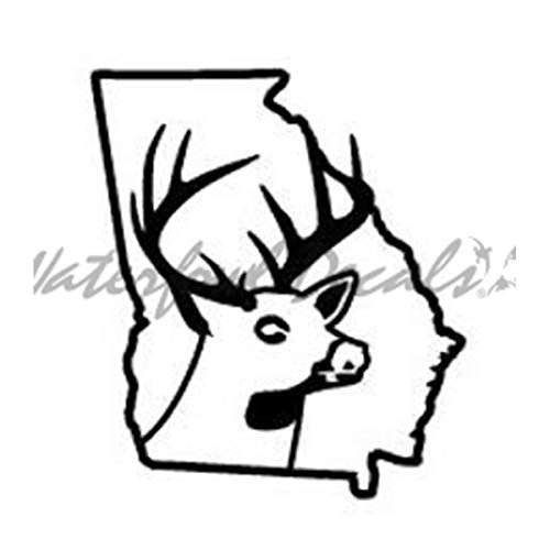 rgia Deer State Buck Hunting Car Truck Window Bumper Vinyl Graphic Decal Sticker DSGA1 ()