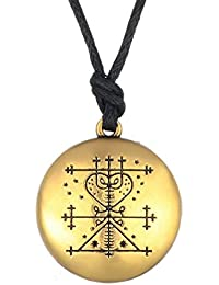 Money Talisman Wealth Amulet Jewelry Hand Stamped Necklace Gold Viking Jewelry